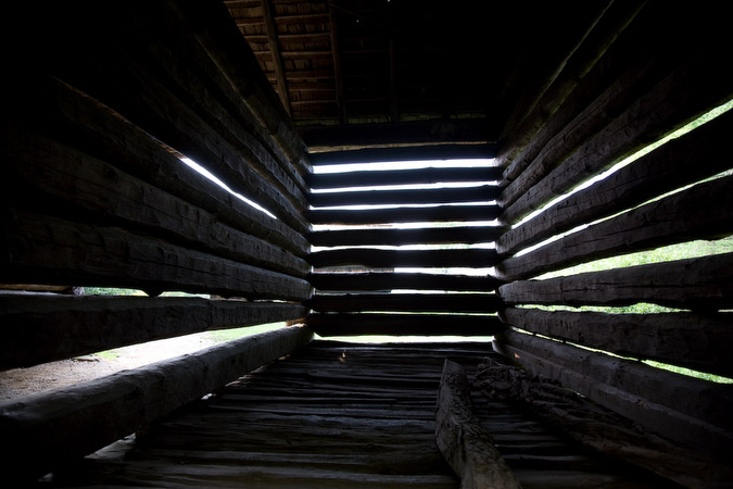 Inside old barn